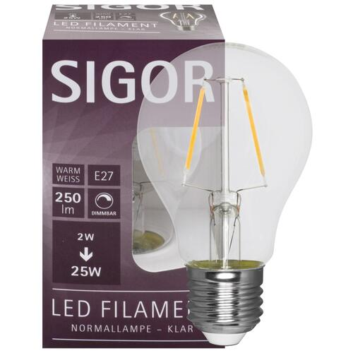 LED Filament Lampe E27 2,5W klar dimmbar 2700K warmweiß